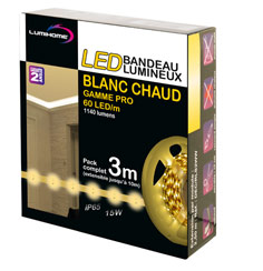 Strip LED 12v 3m Blanc chaud